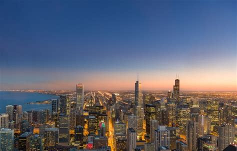 Wallpaper the city, lights, the evening, Chicago, panorama
