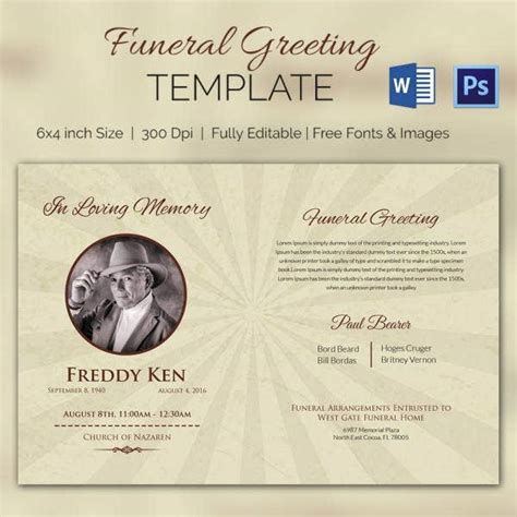 Funeral Program Template - 10+ Free Word, PSD Format